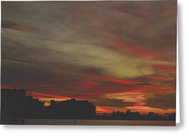 Sunset Framed Prints Drawings Greeting Cards - Swirls of After Glow Greeting Card by Richard Zentner