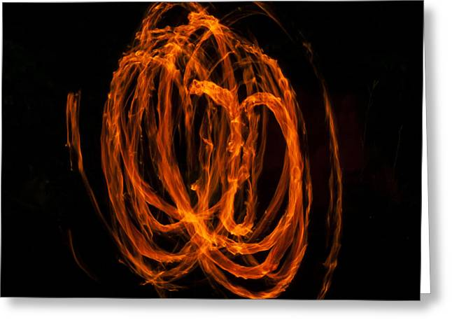 Swirls Of Fire Greeting Card by Mandy Judson