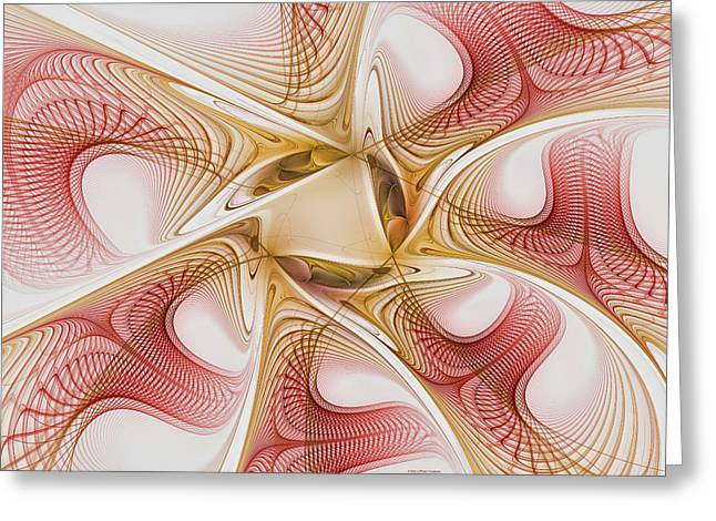 Surreal Geometric Greeting Cards - Swirls of Red and Gold Greeting Card by Deborah Benoit