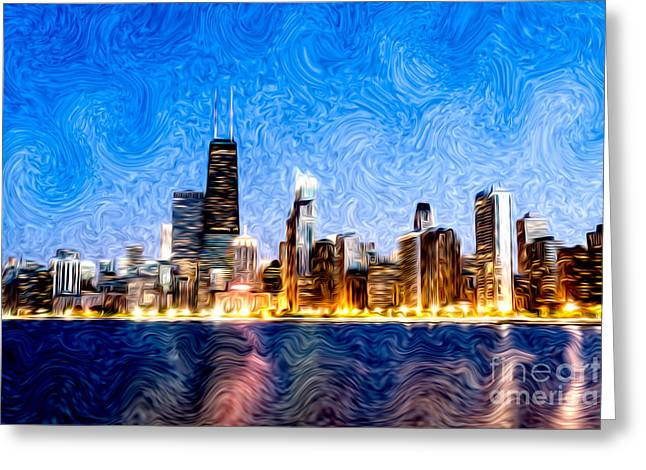 Many Digital Greeting Cards - Swirly Chicago at Night Greeting Card by Paul Velgos