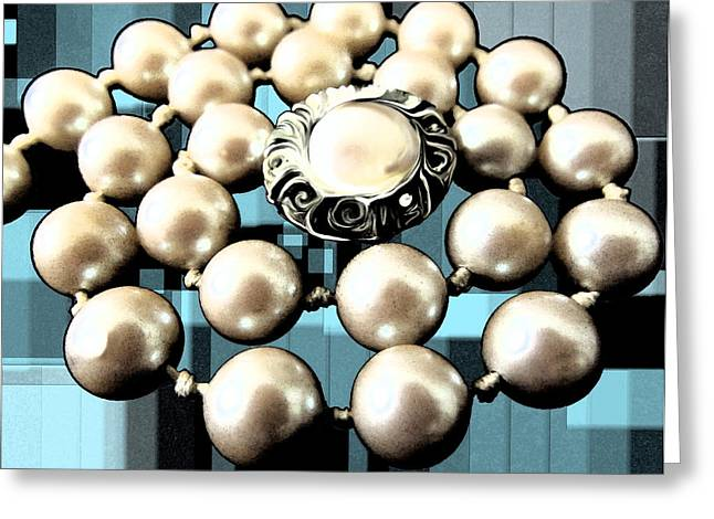 Fitting Room Greeting Cards - Swirly Twirly Pearly Pearls Greeting Card by Diane McElhaney