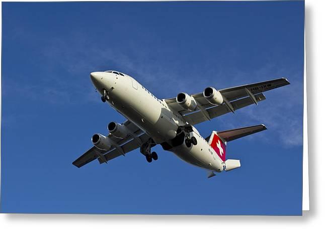 Swiss Greeting Cards - Swiss Air BAE 146 Greeting Card by David Pyatt