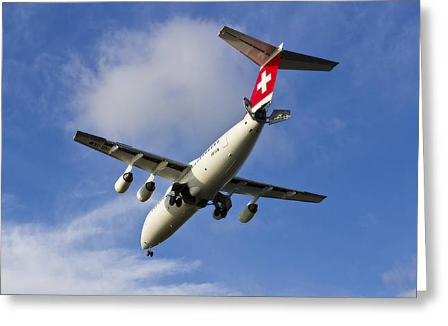 Traffic Control Greeting Cards - Swiss Air BAE146 HB-IXW Greeting Card by David Pyatt