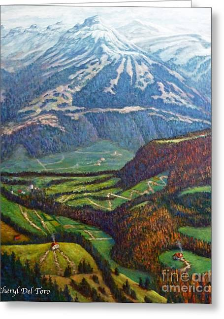 Swiss Paintings Greeting Cards - Swiss Alps Greeting Card by Cheryl Del Toro