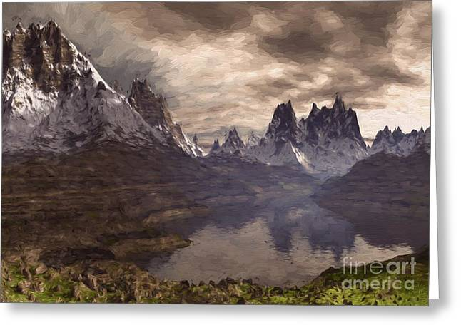 Swiss Photographs Greeting Cards - Swiss Mountain Alps Oil Painting Greeting Card by Heinz G Mielke