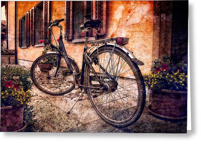 Charming Cottage Greeting Cards - Swiss Bicycle Greeting Card by Debra and Dave Vanderlaan