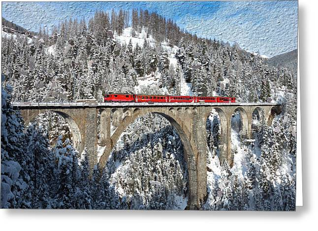 Swiss Mixed Media Greeting Cards - Swiss Bridge - Snow Painting Greeting Card by Mike Rampino