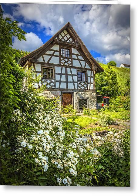 Vineyard Art Greeting Cards - Swiss Chalet in the Garden Greeting Card by Debra and Dave Vanderlaan