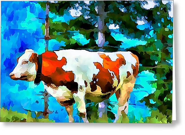One Cow Greeting Cards - Swiss Cow Greeting Card by Yury Malkov