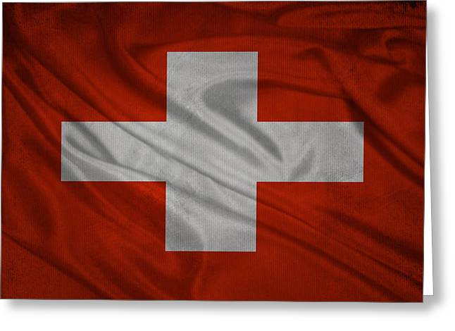 Swiss Mixed Media Greeting Cards - Swiss flag waving on aged canvas Greeting Card by Eti Reid