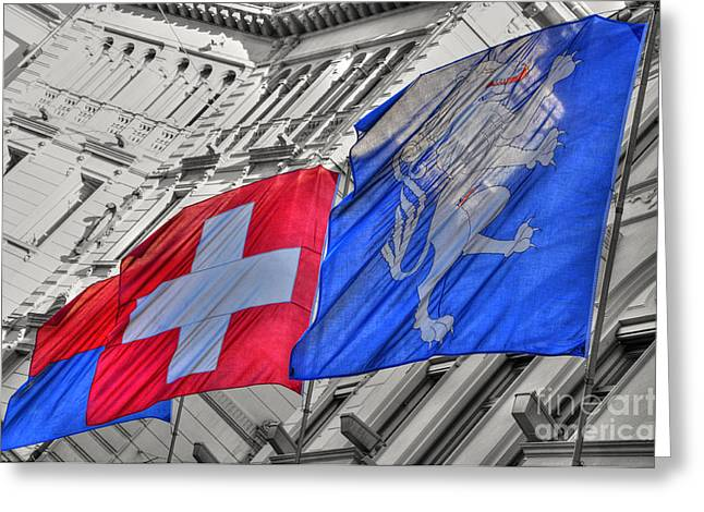 Swiss Flag Greeting Cards - Swiss flags  Greeting Card by Mats Silvan