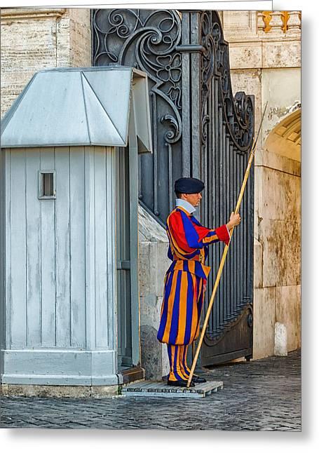 Swiss Photographs Greeting Cards - Swiss Guard at Vatican City Greeting Card by Mountain Dreams