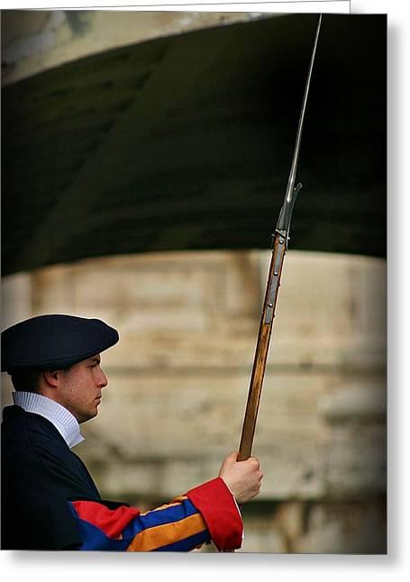 Bayonet Greeting Cards - Swiss Guard Greeting Card by Henry Kowalski