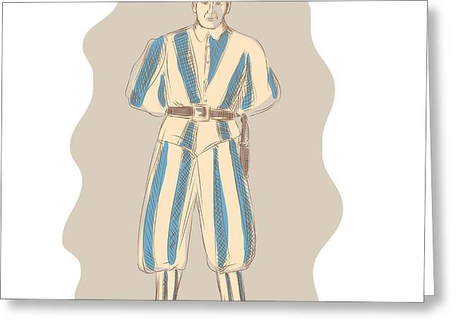 Swiss Greeting Cards - Swiss Guard Standing Sketch Greeting Card by Aloysius Patrimonio