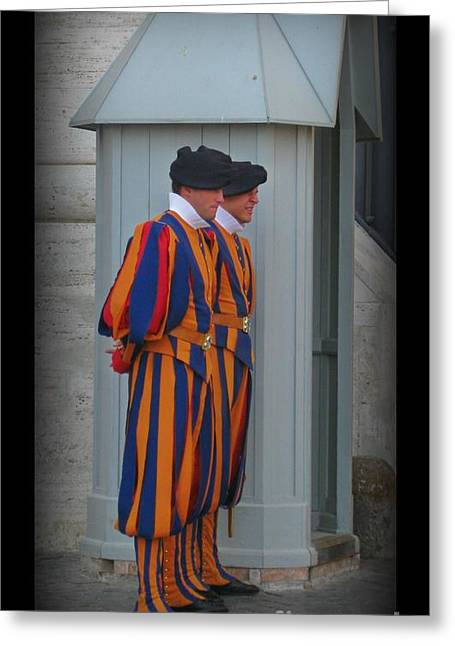 Swiss Guard Greeting Cards - Swiss Guards Poster Greeting Card by John Malone Halifax Graphic Artist