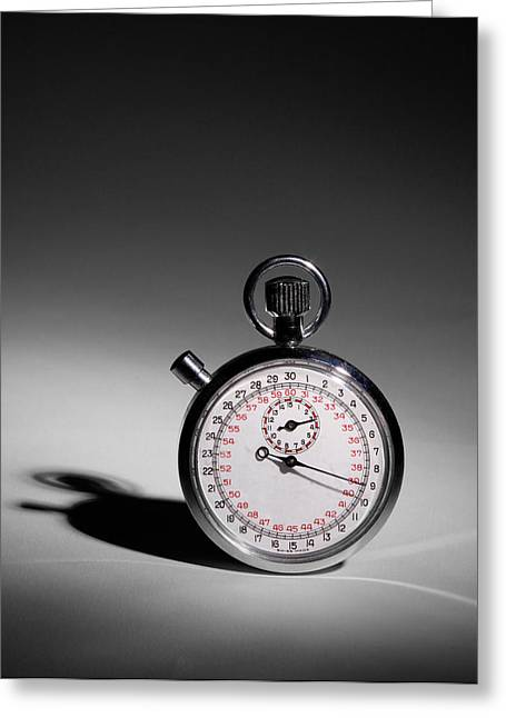 Clock Hands Greeting Cards - Swiss Made Stop Watch Greeting Card by David and Carol Kelly