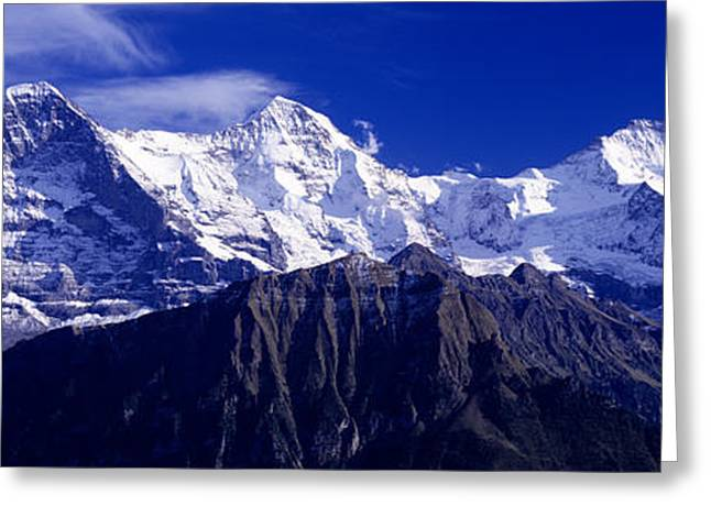 Snow Capped Greeting Cards - Swiss Mountains, Berner, Oberland Greeting Card by Panoramic Images