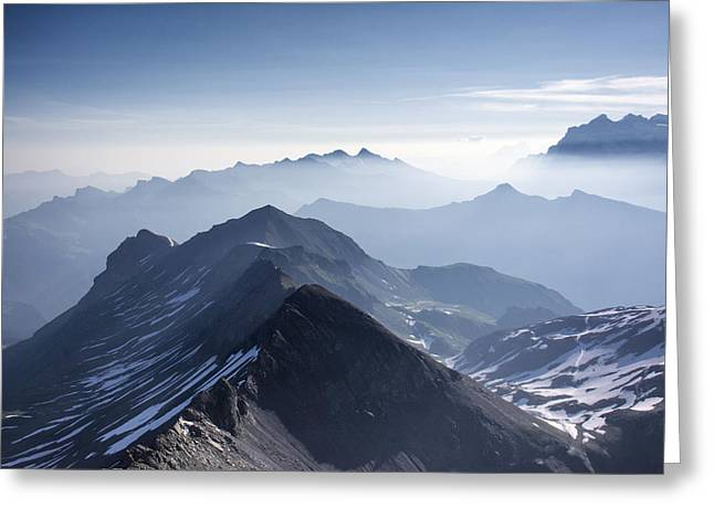 Murren Greeting Cards - Swiss Peaks Greeting Card by Wade Aiken