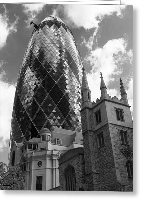 Swiss Greeting Cards - Swiss Re Tower in London Greeting Card by Chevy Fleet