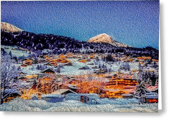 Skiing Posters Photographs Greeting Cards - Swiss village in winter Greeting Card by Oleg Koryagin