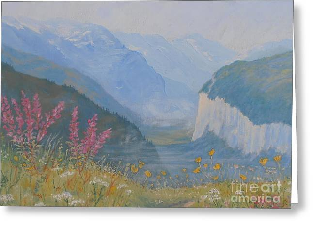 Murren Greeting Cards - Swiss Wildflower Meadow Above Lauterbrunnen Valley Greeting Card by Elaine Jones