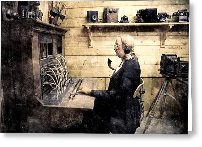 Book Cover Art Greeting Cards - Switchboard Lady Greeting Card by Barbara D Richards