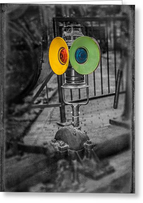 Railyard Greeting Cards - Switching Signal Greeting Card by Paul Freidlund