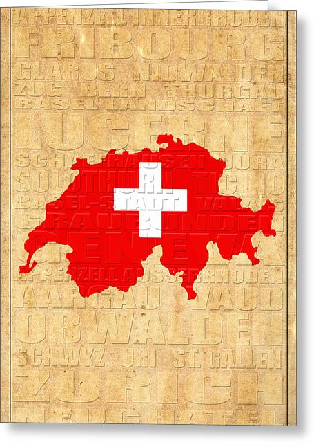 Swiss Flag Greeting Cards - Switzerland Greeting Card by Andrew Fare