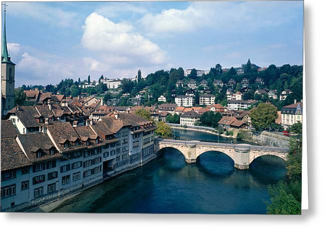 Medieval Architecture Greeting Cards - Switzerland, Bern, Aare River Greeting Card by Panoramic Images
