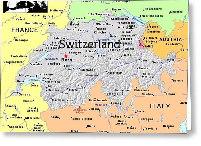 Switzerland Exotic Map Greeting Card by Florene Welebny
