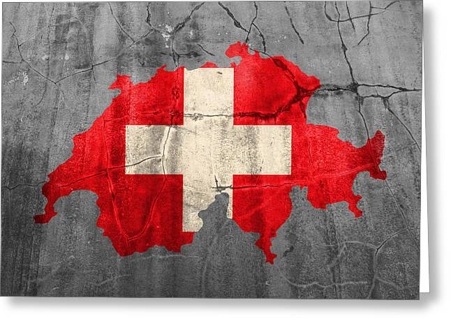 Switzerland Flag Country Outline Painted On Old Cracked Cement Greeting Card by Design Turnpike