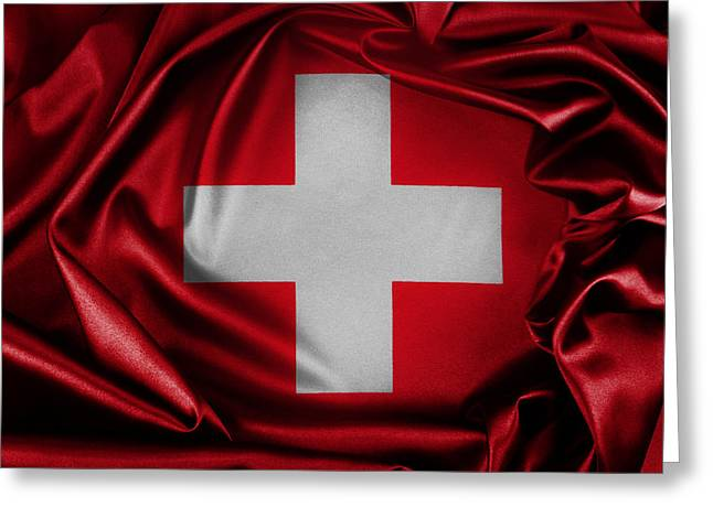 Shiny Fabric Greeting Cards - Switzerland flag Greeting Card by Les Cunliffe