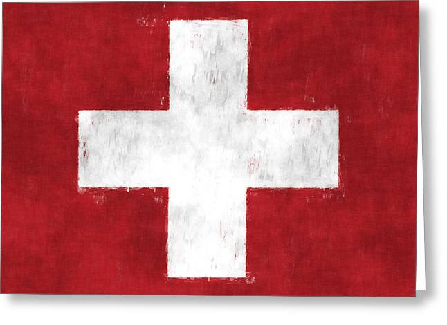 Swiss Cross Greeting Cards - Switzerland Flag Greeting Card by World Art Prints And Designs