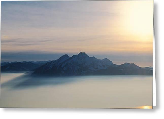 Luzern Greeting Cards - Switzerland, Luzern, Pilatus Mountain Greeting Card by Panoramic Images