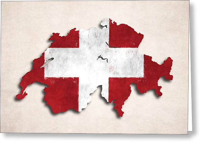 Swiss Greeting Cards - Switzerland Map Art with Flag Design Greeting Card by World Art Prints And Designs