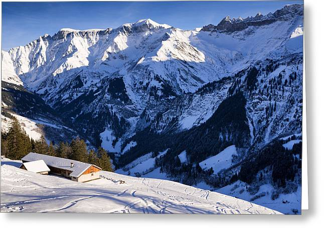 Winterly Greeting Cards - Switzerland Mountain Landscape In Winter Greeting Card by Matthias Hauser