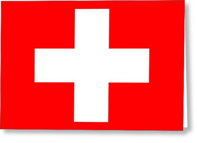 Swiss Cross Greeting Cards - Switzerland Swiss National Flag Greeting Card by Tigerlynx Art