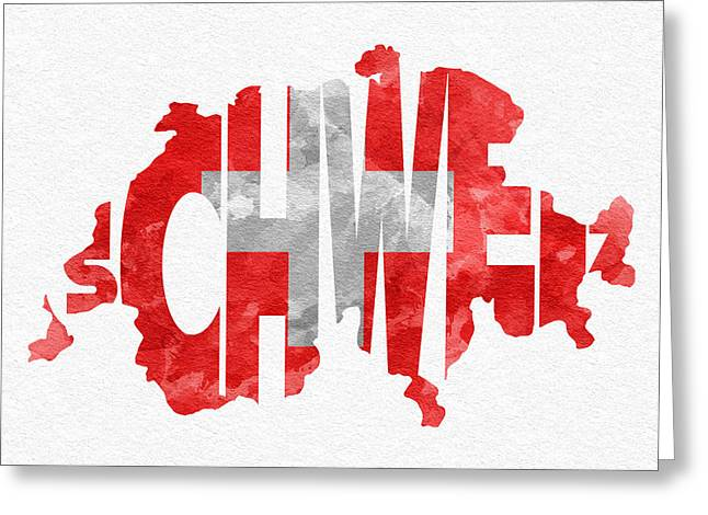 Swiss Greeting Cards - Switzerland Typographic Map Flag Greeting Card by Ayse Deniz