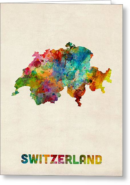 Swiss Greeting Cards - Switzerland Watercolor Map Greeting Card by Michael Tompsett