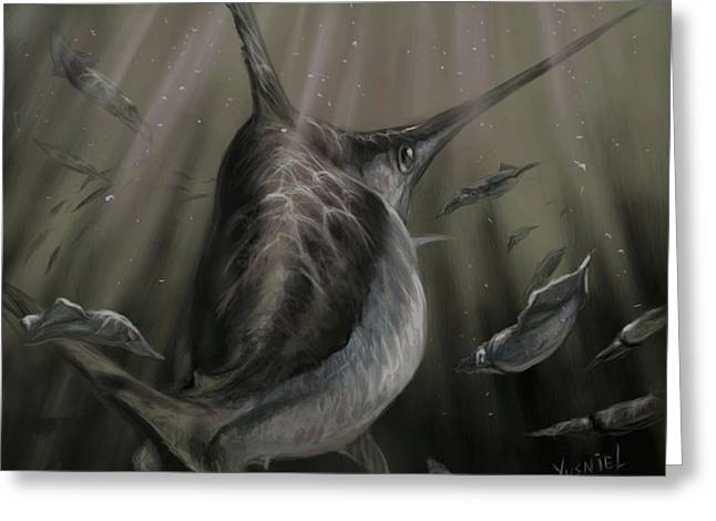 Shark Digital Art Greeting Cards - Sword Fish  Greeting Card by Yusniel Santos
