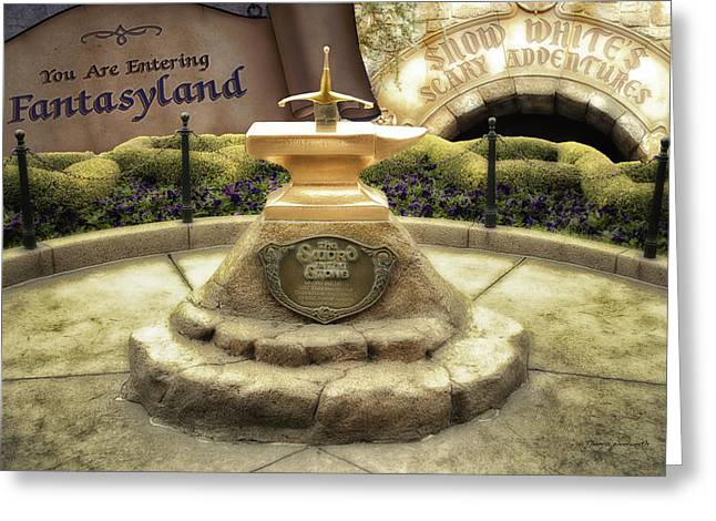 Mad Hatter Greeting Cards - Sword In The Stone Fantasyland Disneyland Greeting Card by Thomas Woolworth