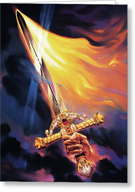 Spirit Paintings Greeting Cards - Sword of the Spirit Greeting Card by Jeff Haynie