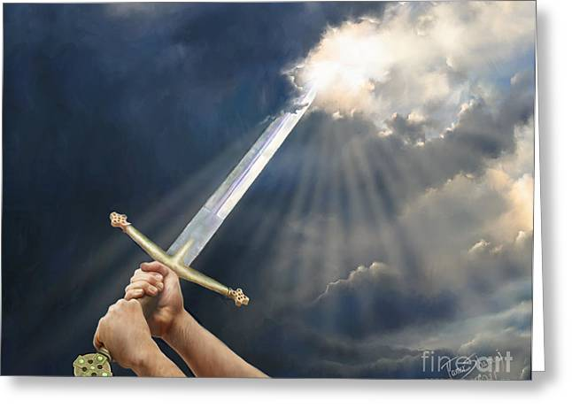 Weaponry Greeting Cards - Sword of the Spirit Greeting Card by Tamer and Cindy Elsharouni