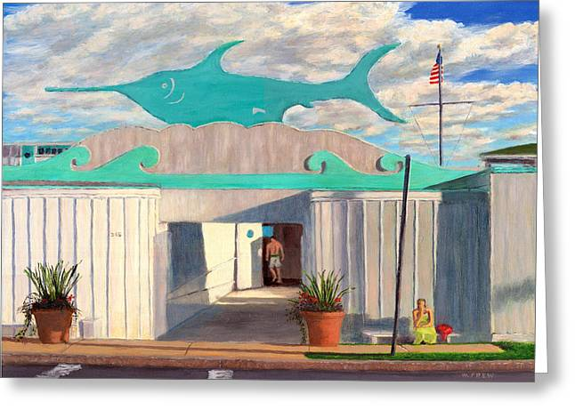 Swordfish Paintings Greeting Cards - Swordfish Beach Club Greeting Card by William Frew