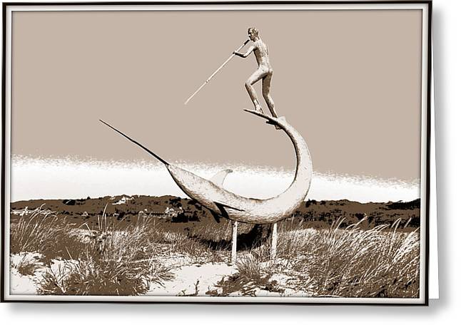 Swordfish Greeting Cards - Swordfish Harpooner in Sepia Greeting Card by Kathy Barney