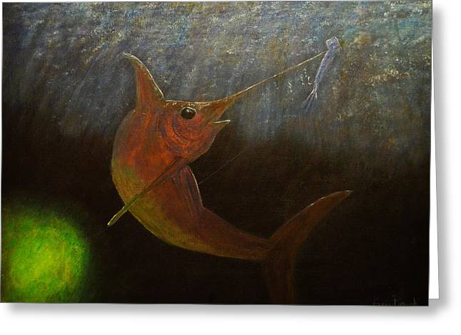 Wahoo Greeting Cards - Swordfish night time hunt Greeting Card by Ken Figurski