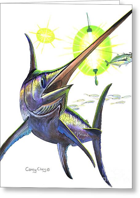 Swordfishing Greeting Card by Carey Chen