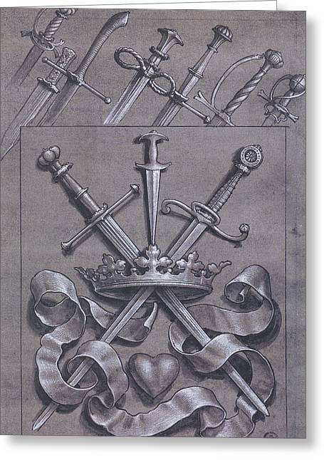 Grayscale Drawings Greeting Cards - Swords Crown and Heart Design Greeting Card by