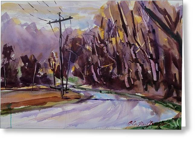 Indiana Rivers Paintings Greeting Cards - Sycamores Along River Road Greeting Card by JULES Buffington