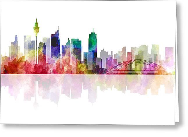 Koala Digital Greeting Cards - Sydney Australia Skyline 2 Greeting Card by Daniel Hagerman